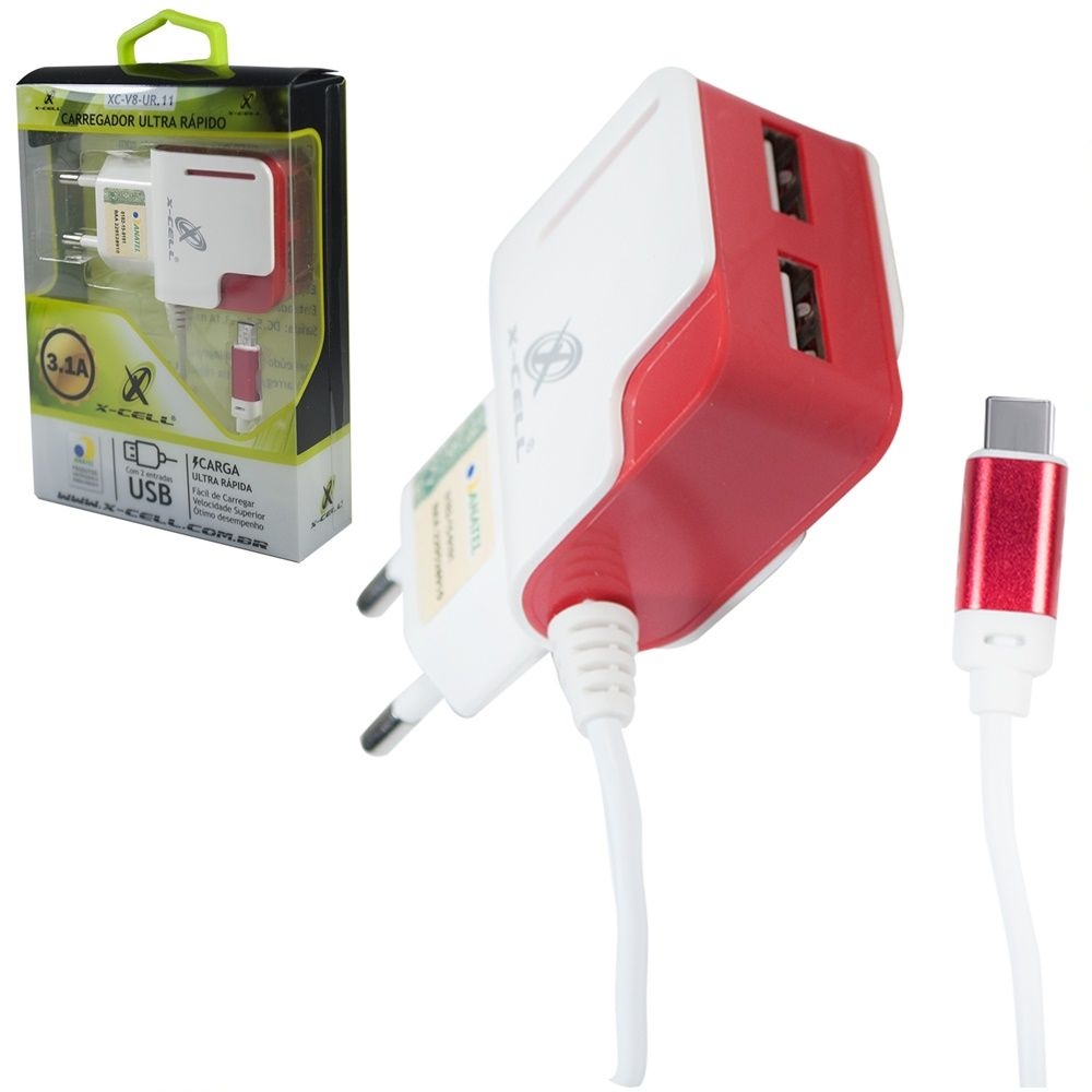 Carregador Type C Ultra Rápido 3.1 Com 3 USB  X-cell ur-14
