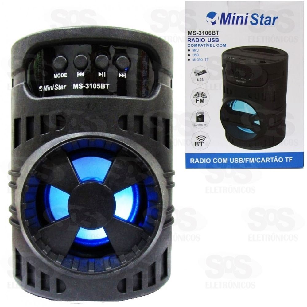 Caixa De Som Cilindro Mini Star ms-3105 bt
